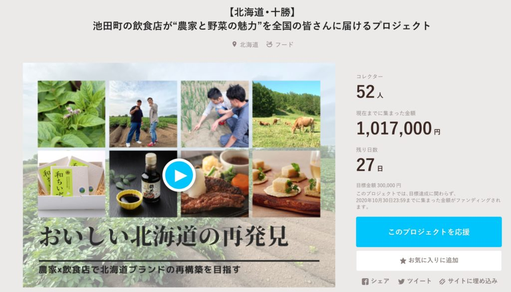 クラウドファンディング 100万 北海道