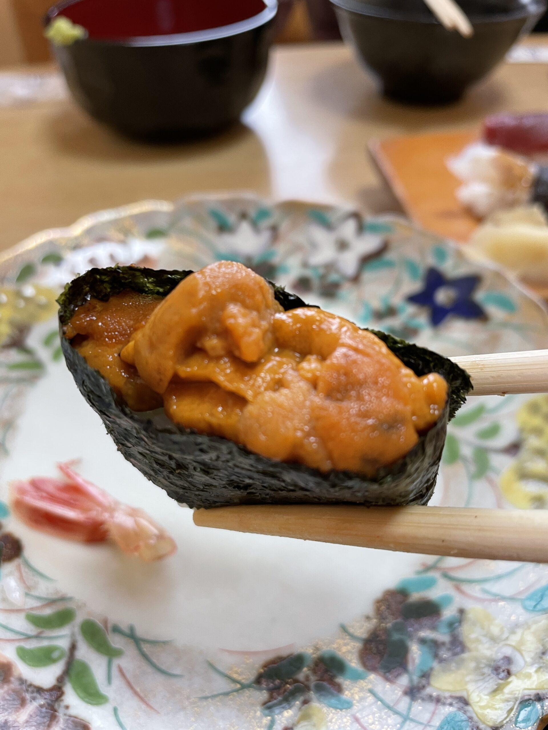 帯広のあら鮨で食べるウニ
